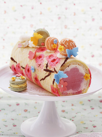 桃花手绘蛋糕卷 的做法