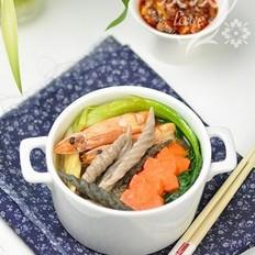 鲜虾杂粮面鱼汤的做法