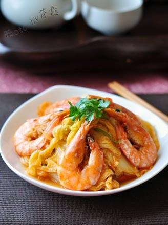 鲜虾炒白菜的做法