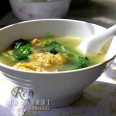豌豆尖煎蛋汤的做法