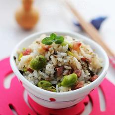 香肠粒咸菜蚕豆饭的做法