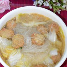 白菜丸子粉丝汤的做法
