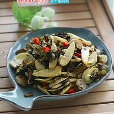 咸榨菜芯炒春笋的做法