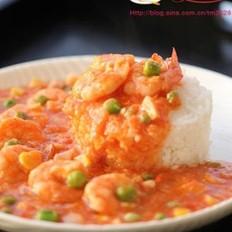 番茄鲜虾饭的做法