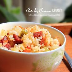 腊肠时蔬糙米饭的做法