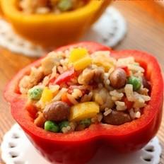 彩椒鸡丁红豆饭的做法