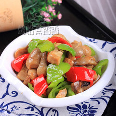 青椒炒草菇