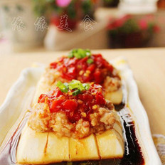 剁椒肉末蒸豆腐的做法