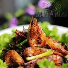 茶香干煸虾的做法
