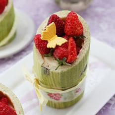 草莓奶油竹子蛋糕的做法