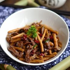 黑椒茶树菇炒牛柳