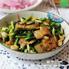 野蒜炒五花肉的做法