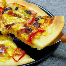 黑橄榄培根匹萨的做法