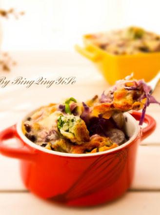 腊肠荷兰豆芝士焗饭的做法