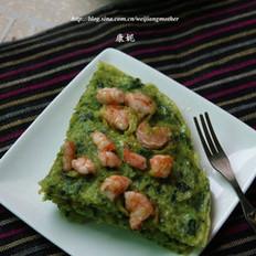 菠菜鲜虾蛋饼的做法