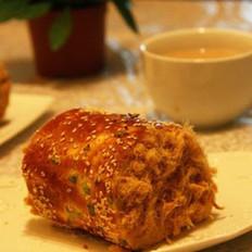 香葱肉松面包卷的做法