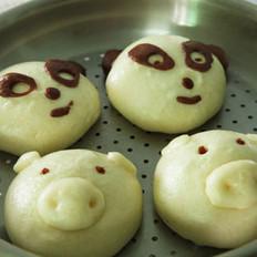 小猪和熊猫豆沙包的做法