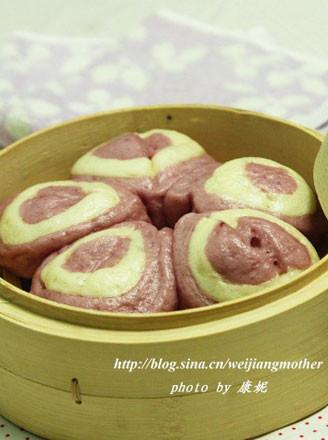 梅花紫薯双色馒头