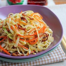 中式蔬菜肉丝炒意面的做法