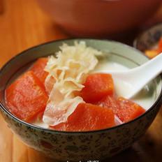 木瓜雪耳炖牛奶的做法