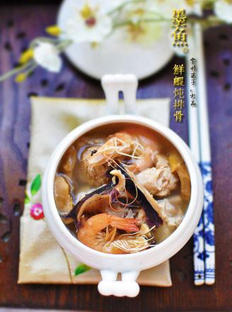 墨鱼鲜虾炖排骨的做法