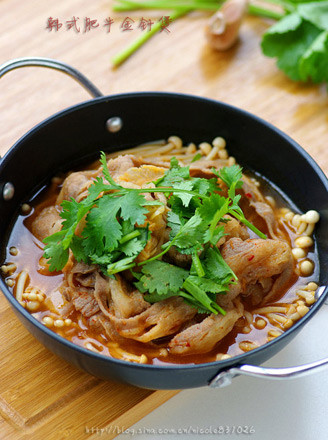 韩式肥牛金针煲的做法