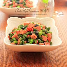 豆豉蒜苔炒午餐肉