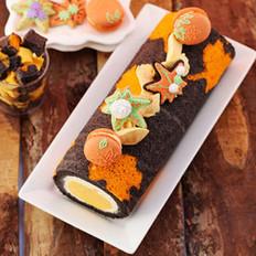 枫叶手绘蛋糕卷