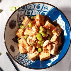 酱烧春蚕虾仁豆腐