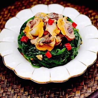 菠菜拌毛蛤